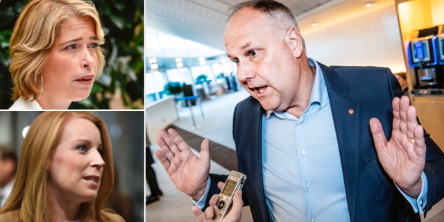Annika Strandhäll, Annie Lööf och Jonas Sjöstedt. TT