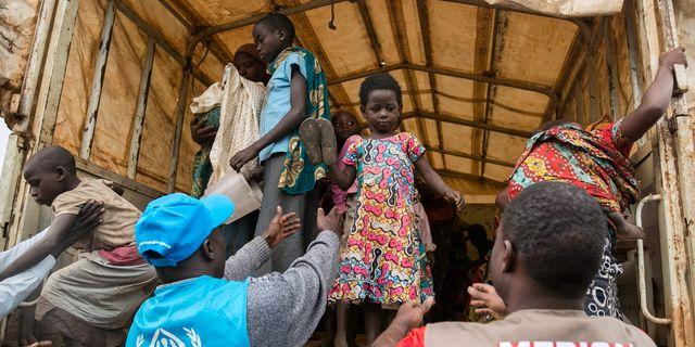 Flyktingar från östra Kongo-Kinshasa, januari 2018. SUMY SADURNI / AFP