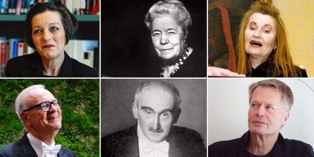 Nobelpristagarna Hertha Müller, Selma Lagerlöf, Elfriede Jelinek, Patrick Modiano, Henri Bergson och Jean-Marie Gustave Le Clezio TT