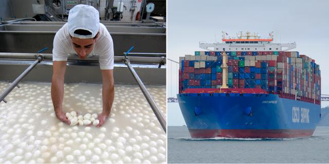 Italiensk mozzarellafabrik. Lastfartyg.  TT