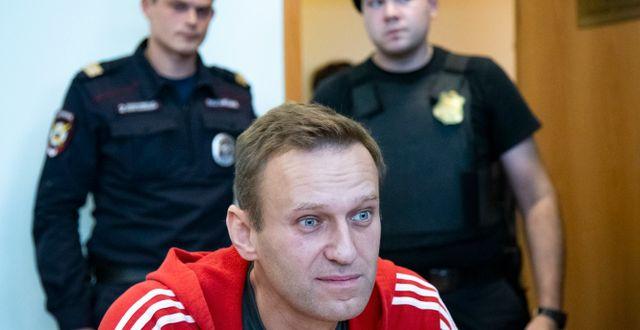 Aleksej Navalnyj i rysk rättegångssal i augusti 2019. Alexander Zemlianichenko / TT NYHETSBYRÅN
