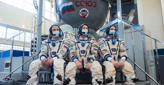 Sergej Kud-Svertjkov, Sergej Ryzjikov och Kathleen Rubins Andrey Shelepin / TT NYHETSBYRÅN