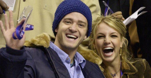 Justin Timberlake och Britney Spears från när det begav sig 2002.  CHRIS GARDNER / TT NYHETSBYRÅN