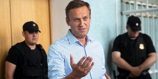 Aleksej Navalnyj i rätten. Pavel Golovkin / TT NYHETSBYRÅN