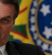 Jair Bolsonaro under ett tal i augusti. Eraldo Peres / TT NYHETSBYRÅN