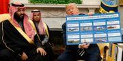 Arkivbild: USA:s president Donald Trump visar en skylt med amerikanska vapenförsäljningar till Saudiarabien under ett möte med Saudiarabiens kronprins Mohammed bin Salman i Vita huset. Evan Vucci / TT NYHETSBYRÅN