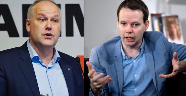 Jonas Sjöstedt (V) och Rikard Nordin (C). TT