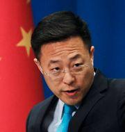 Zhao Lijian, talespersonen i fråga.  Andy Wong / TT NYHETSBYRÅN