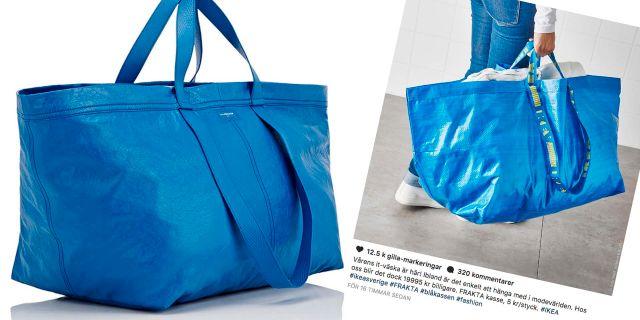 Till vänster: Balenciagas väska och till höger Ikeas Instagraminlägg på deras kasse. Balenciaga och Ikeas Instagramkonto
