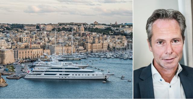Hamnen i Valetta, Malta, respektive Martin Carlesund. TT