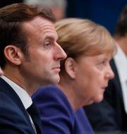 Emmanuel Macron och Angela Merkel. Frank Augstein / TT NYHETSBYRÅN