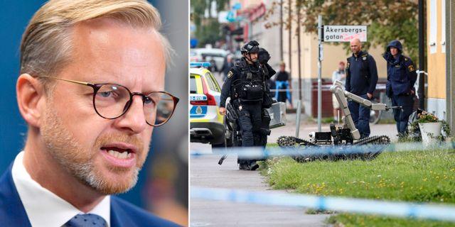 Mikael Damberg och Nationella bombskyddet som undersöker en brottsplats.  TT.