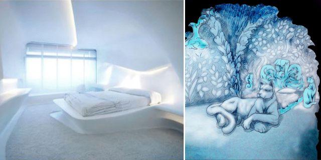 """Sviterna """"6 Feeling"""" ryska duon Vladimir Barsukov och Ekaterina Barsukova samt """"Feline lair"""" av kanadensarna Brian McArthur och Dawn Detarando. Icehotel"""