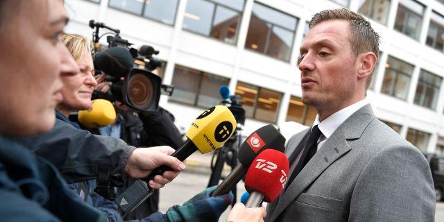 Åklagaren Kristian Kirk Petersen utanför Østre Landsret inför onsdagens förhandlingar.  Liselotte Sabroe / TT NYHETSBYRÅN