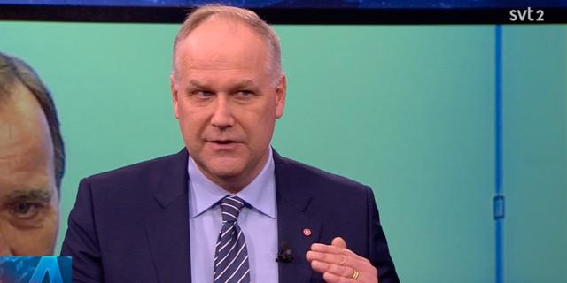 Jonas Sjöstedt i SVT:s Aktuellt Skärmbild SVT