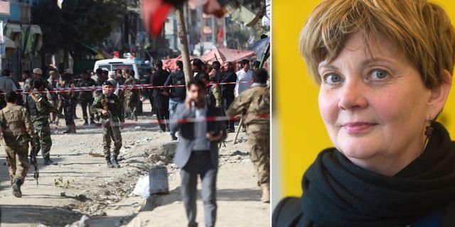 Madelaine Seidlitz, Amnesty, till höger. Till vänster: säkerhetsstyrkor i Kabul efter en självmordsattack 29 sep, 2017. TT