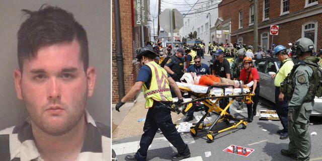 Polisens bild på den misstänkte, James Alex Fields Jr./Räddningsarbetare hjälper de skadade efter attacken TT