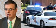 Marcelo Ebrard t.v. Polis på plats efter masskjutningen i El Paso t.h. TT