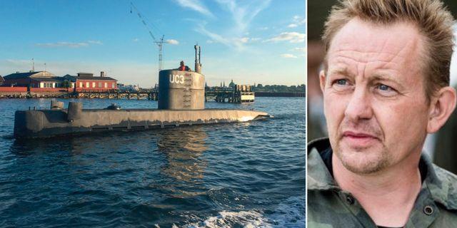 Ubåtsbyggaren Peter Madsen. Till vänster hans ubåt i vattnen vid Köpenhamn i torsdags. TT