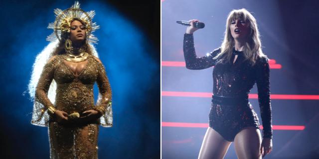 Beyoncé och Taylor Swift. Arkivbilder. TT