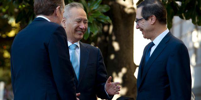 Robert Lighthizer, Liu He och Steven Mnuchin i Washington DC i oktober i år. Jose Luis Magana / TT NYHETSBYRÅN