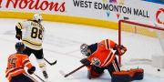 David Pastrnaks mål mot Edmonton. PERRY NELSON / BILDBYRÅN