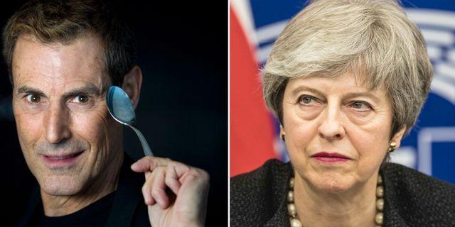 Uri Geller och Theresa May.  TT