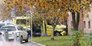Den kapade ambulansen i Torshov i Oslo.  Håkon Mosvold Larsen / TT NYHETSBYRÅN