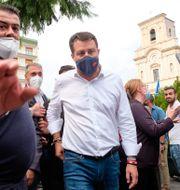Matteo Salvini i mitten. Mauro Scrobogna / TT NYHETSBYRÅN