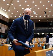 Charles Michel i Europaparlamentet idag. Francisco Seco / TT NYHETSBYRÅN