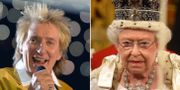 Sir Rod Stewart och drottning Elizabeth. TT