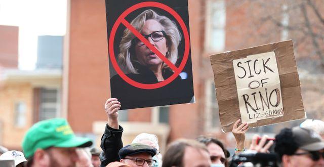Demonstration mot Liz Cheney i Cheyenne, Wyoming/Arkivbild Michael Cummo / TT NYHETSBYRÅN