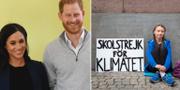 Prins Harry och hertiginnan Meghan och Greta Thunberg. Arkivbilder. TT