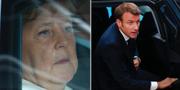 Angela Merkel och Emmanuel Macron i samband med mötena igår och idag. TT