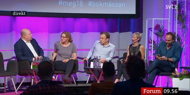 Debatt från Mediedagarna med Omnis chefredaktör Markus Gustafsson i panelen. Skärmdump SVT.