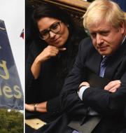 Skylt i protest/Boris Johnson i underhuset.  TT/AP