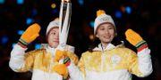 Nordkoreas och Sydkoreas idrottade marscherade in tillsammans under vinter-OS i Pyeongchang.  Petr David Josek / TT NYHETSBYRÅN