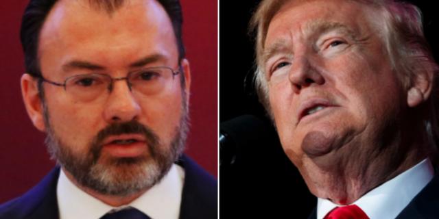Mexikos utrikesminister Luis Videgaray och Donald Trump. TT