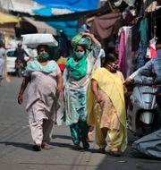 Kvinnor med munskydd i Indien. Channi Anand / TT NYHETSBYRÅN