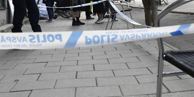 Polisavspärrningar på platsen. Karin Wesslén/TT / TT NYHETSBYRÅN