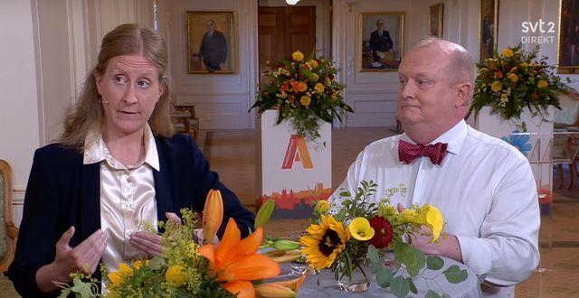 DN:s ledarskribent Susanne Nyström och Dick Erixon, chefredaktör för Samtiden.  SVT.
