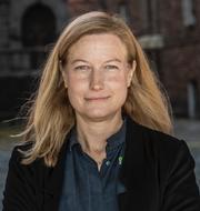 Katarina Luhr (MP) och trafik på Essingeleden i centrala Stockholm. TT
