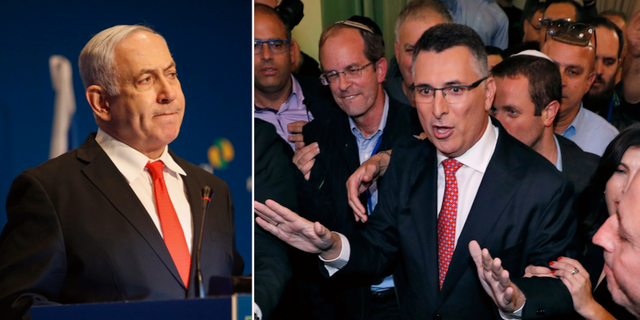 Benjamin Netanyahu/Gideon Saar (i mitten). TT