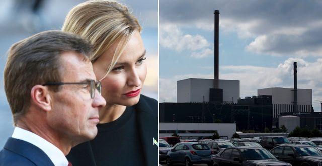 Kristersson och Busch, illustrationsbild av Oskarshamns kärnkraftverk.  TT