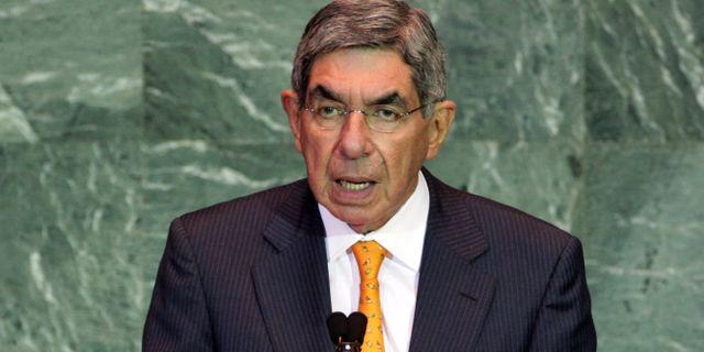 Oscar Arias Sánchez talar till FN.  Richard Drew / TT NYHETSBYRÅN/ NTB Scanpix