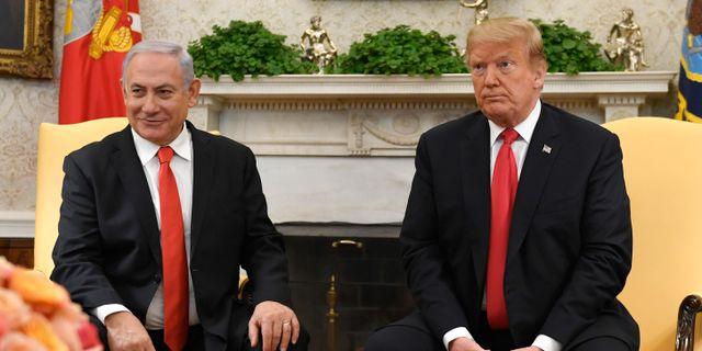 Donald Trump och Israels premiärminister Benjamin Netanyahu. Susan Walsh / TT NYHETSBYRÅN