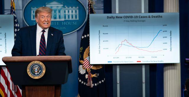 Donald Trump under en presskonferens i juli. Evan Vucci / TT NYHETSBYRÅN