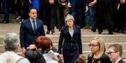 Storbritanniens premiärminister Theresa May och Irlands premiärminister Leo Varadkar.  Brian Lawless / TT NYHETSBYRÅN/ NTB Scanpix