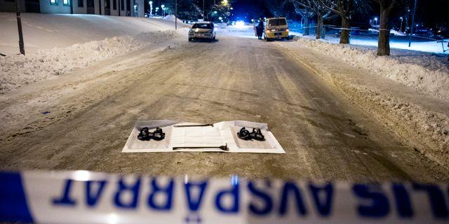 Bild från brottsplatsen.  ULF PALM / TT / Nyhetsbyrån TT