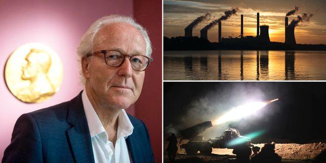 Nobelstiftelsens direktör Lars Heikensten/Illustrationsbilder: kolkraftverk och vapen.  TT